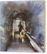 Inside An Ice Tunnel In Switzerland Wood Print