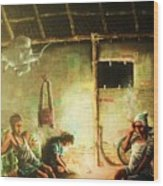 Inside Refugee Hut Wood Print by Pralhad Gurung