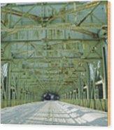 Inside The Falls Bridge - Winter Wood Print