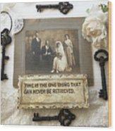 Inspirational Art - Vintage Wedding Photo With Antique Keys - Inspirational Vintage Black Keys Art  Wood Print