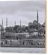 Instanbul In Black And White Wood Print