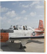 Instructor Pilot And Student In A T-34 Wood Print