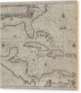 Insulae Americanae In Oceano Septentrionale Wood Print