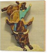 Intarsia Bull-rider Wood Print by Russell Ellingsworth