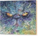 Intense Palette Knife  Persian Cat Wood Print