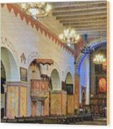 Interior Image Of San Juan Bautista Mission Wood Print