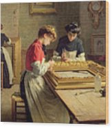 Interior Of A Frame Gilding Workshop Wood Print by Louis Emile Adan