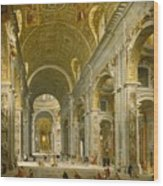 Interior Of St. Peter's - Rome Wood Print by Giovanni Paolo Panini
