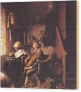 Interior With A Young Violinist 1637 Wood Print