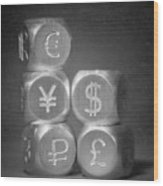 International Currency Symbols Wood Print