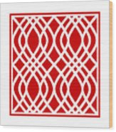 Intertwine Latticework With Border In Red Wood Print