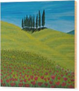 Into The Cypress Land Wood Print