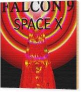 Into The Future Falcon 9 Wood Print