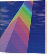 Into The Future - Rainbow Monolith And Planet Wood Print