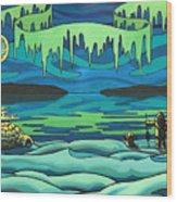 Inuit Love Arctic Landscape Painting Wood Print