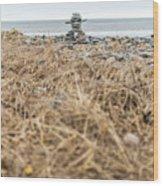 Inukshuk At Lawrencetown Beach, Nova Scotia Wood Print