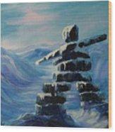 Inukshuk My Northern Compass Wood Print