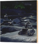 Inuksuk Stone Figures And River Wood Print