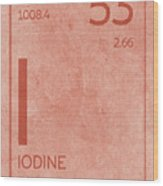Iodine Element Symbol Periodic Table Series 053 Wood Print