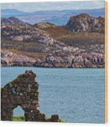 Iona Ruins And Mull Hills Wood Print