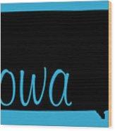 Iowa In Black Wood Print