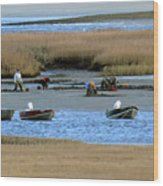 Ipswich River Clammers 2 Wood Print