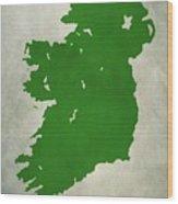 Ireland Grunge Map Wood Print