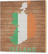 Ireland Rustic Map On Wood Wood Print