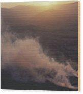 Ireland Smoke Rising From Peat Bog Wood Print