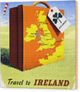 Ireland Vintage Travel Poster Restored Wood Print