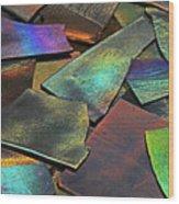 Iridescence Angles, Curves Greens Blues Browns Rusts Yellows Geometric 2 8312017  Wood Print