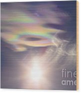 Iridescent Clouds Near The Sun Wood Print