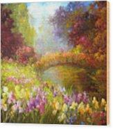 Iris-- Covered Bridge Wood Print