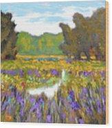 Iris By Creek Wood Print