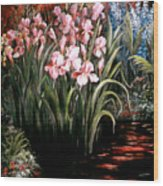 Iris By The Pond Wood Print