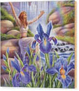 Iris - Fine Tune Wood Print by Anne Wertheim