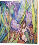 Iris Grantor Of Hope Wisdom And Inspiration - Watercolor Wood Print