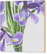 Iris In A Vase Wood Print