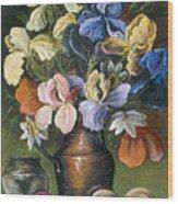 Iris In Brass Pitcher Wood Print