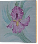 Iris In Lavender Wood Print