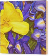 Iris withTulip Wood Print