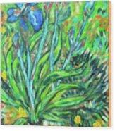 Irises Ala Van Gogh Wood Print