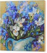 Irises And Blue Glass Wood Print