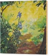Irises  And Sunlight Wood Print