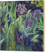 Irises At High Altitude Auribeau France 2004   Wood Print