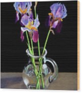 Irises In A Glass Pitcher Wood Print