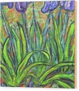 Irises In A Sunny Garden Wood Print