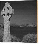 Irish Celtic Cross Overlooking Lake Wood Print