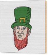 Irish Leprechaun Wearing Top Hat Drawing Wood Print