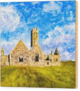 Irish Monastic Ruins Of Ross Errilly Friary Wood Print